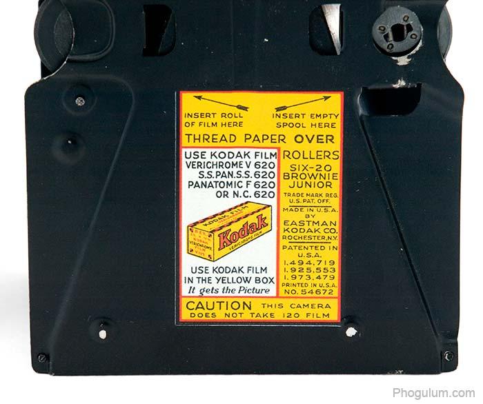 Kodak Brownie Junior Six-20 label inside