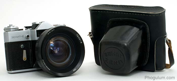 Zenit E with lens Mir-20M and case